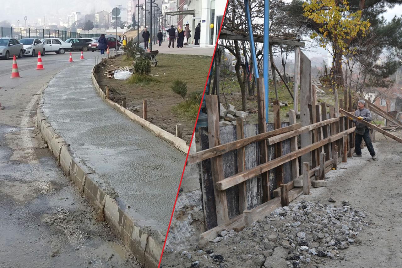 Karabük Belediyesi İstinat Duvarı ve Kaldırım Çalışmalarına Devam Ediyor