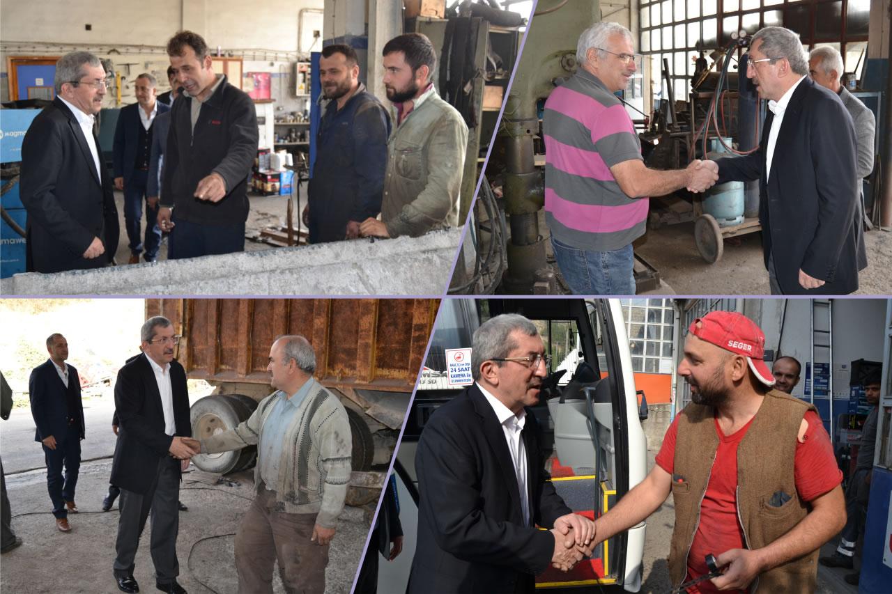 Başkan Vergili Cumayanı Sanayi Sitesi Esnaf Ziyaretlerine Devam Etti